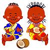 Afrikanische Kinder mit Kokos und Bananen