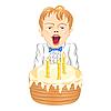 Мальчик с тортом | Векторный клипарт