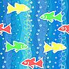 nahtloser Hintergrund mit Wellen und bunten Fischen