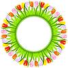 runder Rahmen von bunten Tulpen