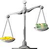 unsymmetrische silberne Waage mit Münzen und Banknoten