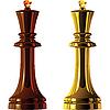 Schachfiguren, schwarze und weiße Könige