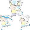 Cartoon-Mann trägt Wetter-Plakate | Stock Vektrografik