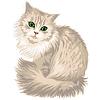 Liliowy puszysty sprytny kot z zielonymi oczami | Stock Vector Graphics
