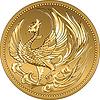 Японская золотая монета деньги с фениксом