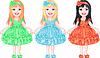 eingestellt von bezaubernden kleinen Mädchen in schicken Kleidern