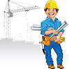 Векторный клипарт: веселый инженер-строитель в желтом шлеме