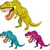Zestaw kolorowych tyranozaurów dinozaurów | Stock Vector Graphics
