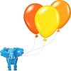 멀티 풍선과 함께 블루 아프리카 코끼리 | Stock Vector Graphics