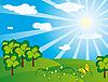 绿色景观在阳光灿烂的日子 | 向量插图