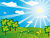 ID 3055391 | Grüne Landschaft am sonnigen Tag | Stock Vektorgrafik | CLIPARTO
