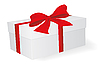 Białe pudełko z czerwoną wstążką | Stock Vector Graphics