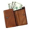 棕色皮革钱包与美元 | 免版税照片