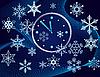 Weihnachtshintergrund mit einer Uhr und Schneeflocken