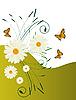 Grußkarte mit Gänseblümchen und Schmetterlingen