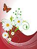 雏菊和蝴蝶卡 | 向量插图