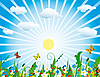 Słońce nad łąki kwitnienia | Stock Vector Graphics