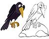 Cuervo en la piedra | Ilustración