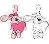 Conejo con corazón | Ilustración vectorial