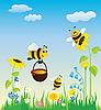 ID 3052603 | Wiese und Bienen | Stock Vektorgrafik | CLIPARTO
