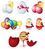 Set von Ostern Eiern und Küken