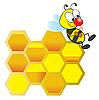 Biene und Honigwaben