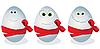 Lustige Eier mit einer roten Schleife
