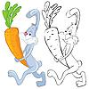 Conejo y zanahoria | Ilustración vectorial