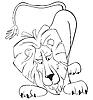 überraschter Löwe