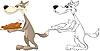 Wolf und gebratenes Huhn