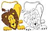 Sorprendido por el león | Ilustración vectorial