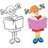 Muchacha lee el libro | Ilustración vectorial