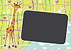 Векторный клипарт: забавная африканская рамка с жирафом
