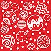 Roter Hintergrund mit Weihnachtskugeln | Stock Vektrografik