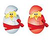 Jaja wielkanocne i kurcząt | Stock Vector Graphics