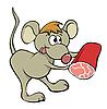 柔顺的鼠标与食品 | 向量插图