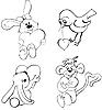 Vogel, Kaninchen und Affen mit Herzen