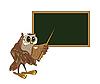 Eule-Lehrer steht an der Tafel