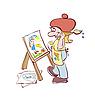 Malarstwo artysty przy sztaludze | Stock Vector Graphics