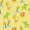 Nahtloser Hintergrund mit Dschungel-Tieren | Stock Vektrografik