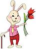 兔用鲜花和甘蔗 | 向量插图