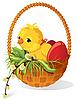 Küken und Eier im Korb