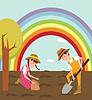 Kinder pflanzte Samen