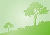 绿色的树木剪影 | 向量插图