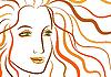 姜波浪头发的女人美丽的脸 | 向量插图