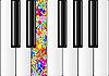 Klaviertastatur mit einer bunten Taste | Stock Vektrografik