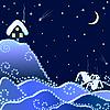 ländliche Landschaft im Winternacht