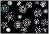 Schneeflocken auf Schwarz