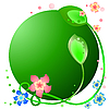 用鲜花和树叶的绿色圆形框架 | 向量插图