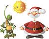 Drache, Sonne und Weihnachtsmann | Stock Vektrografik